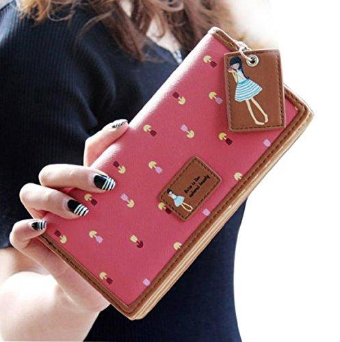 Vovotrade(TM) Hot Sale!! Elegant Lady Women Long Purse Clutch Wallet Zip Bag Card Holder (hot pink)