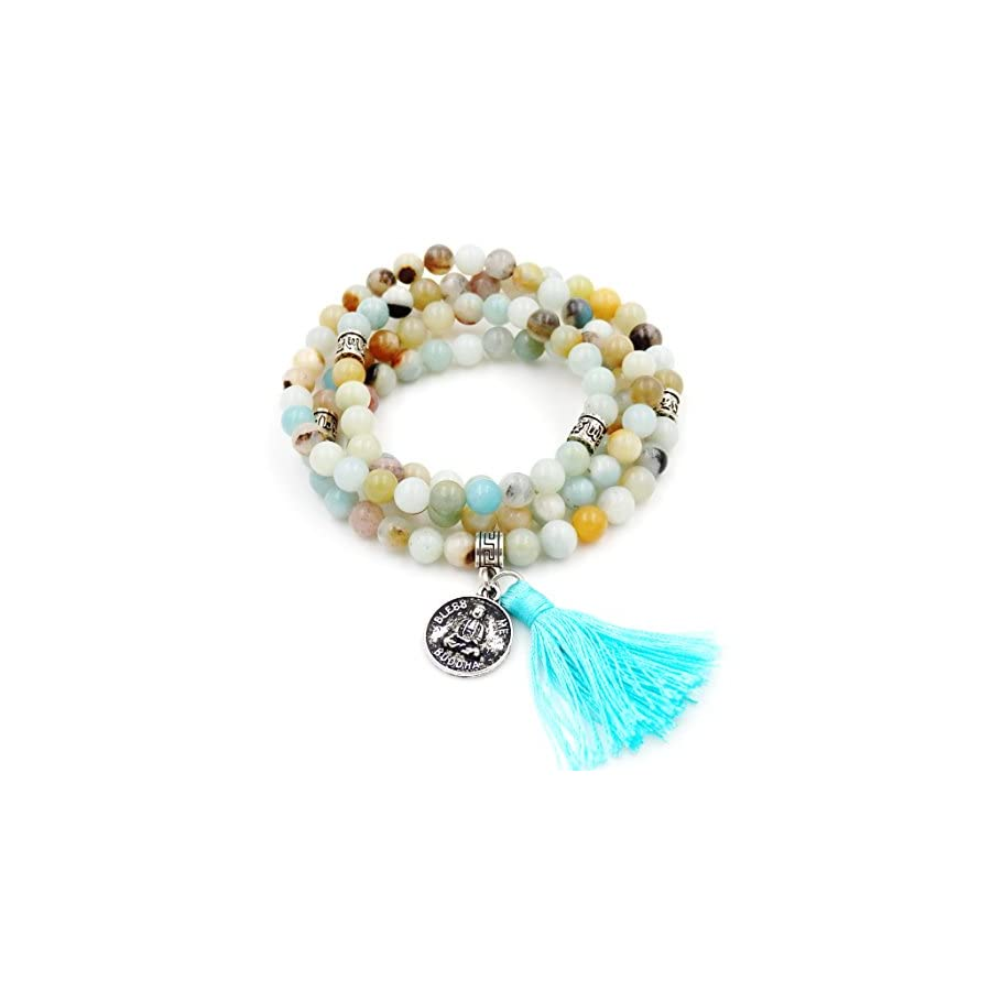 Mala Beads Bracelet, Buddhist Mala Prayer Beads, Buddha Bless Me Statement Necklace