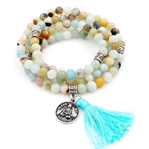 Malahill Mala Beads Bracelet, Buddhist Mala Prayer Beads, Buddha Bless Me Statement Necklace