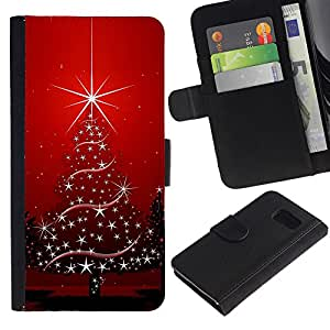 iKiki Tech / Cartera Funda Carcasa - Christmas Tree Stars Winter Holidays Red - Samsung Galaxy S6 SM-G920