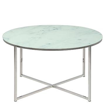 Homy Couchtisch Rund Glas Metall Tischplatte Milchglas Marmorprint