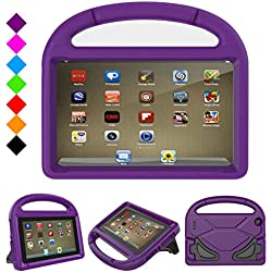 Fire 7 2017 Kids Case, Fire 7 2015 Kids Case - DiHines Light Weight Shock Proof Handle Friendly Stand Kid-Proof Case for All New Amazon Fire 7 inch Display Tablet Cover(2015&2017 Release) (Purple)
