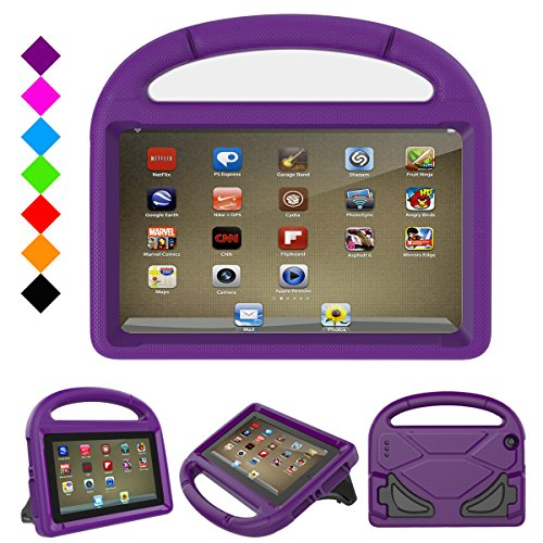 Fire 7 2017 Kids Case, Fire 7 2015 Kids Case, DiHines Light Weight Shock Proof Handle Friendly Stand Kid-Proof Case for All New Amazon Fire 7 inch Display Tablet Cover(2015&2017 Release) (Purple)