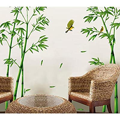 Vosarea Wall Sticker Bamboo Birds Stickers Self-Adhesive Removable Wallpaper Wall Art for Nursery Living Room Kid Room Decor: Home & Kitchen