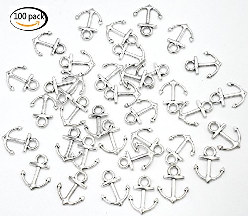 Youkwer 100pcs Mini 14x18mm Vintage Nautical Anchor Sign Metal Charms Pendants for DIY Crafting and Jewelry Making (Antique Silver) for $<!--$7.99-->