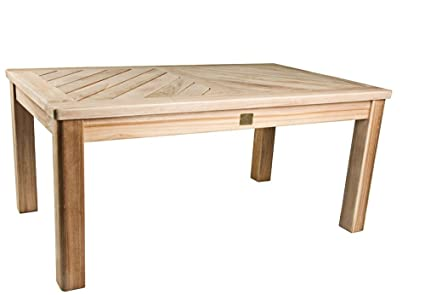 Amazoncom Bristol Teak Coffee Table Bristol Outdoor Patio - Solid teak outdoor table