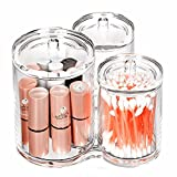 Richboom 3 Connected Compartments 100% Acrylic Cotton Bud and Ball Holder - Cosmetic Storage Makeup Organizer - Bath Accessory