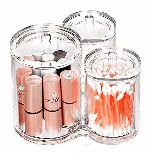Richboom 3 Connected Compartments 100% Acrylic Cotton Bud Ball Holder - Cosmetic Storage Makeup Organizer - Bath Accessory