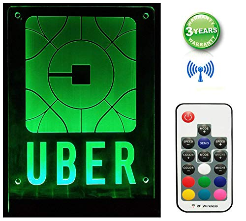 "UBER Sign Logo LED Light Rideshare Decal Sticker with Remote Control Adjustable Multi-Color Multi-Mode with 4 Bigger Stronger Suction Cups Size 7.9""×5.9"""