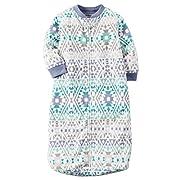 Carters One Piece Zoo Animals Micro Fleece Sleep Bag or Sack (0-9 Months, Blue Tribal)