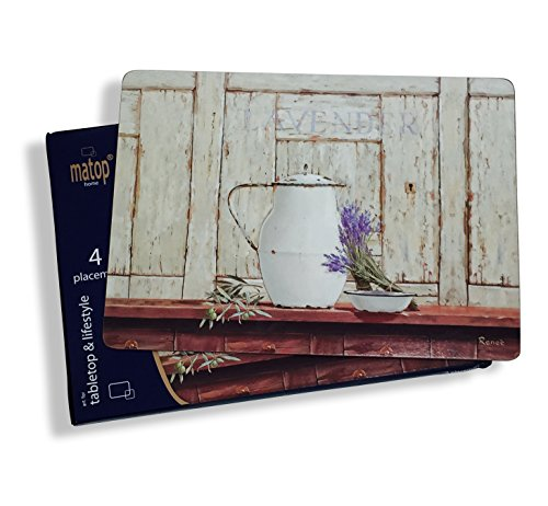 "The Lavender de Provence French Country Style Placemats,Heat Resistant, Laminated, Cork backed, Rustic Colors, Set of 4, 16 x 11 ¼"" By Whole House (Lavender Coffee Pot)"