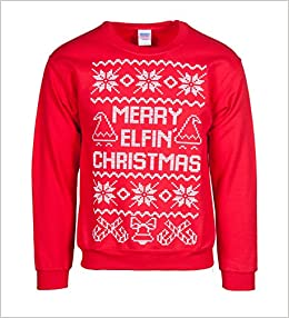 Mens Merry Elfin Christmas Ugly Sweater 2x Large 0053926049738
