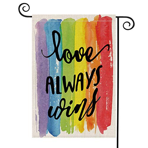 AVOIN Love Always Wins Rainbow Garden Flag Vertical Double Sided Pride Gay Pride Lesbian LGBT, Pansexual Burlap Flag Yard Outdoor Decoration 12.5 x 18 Inch ()