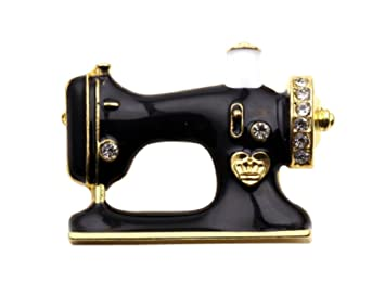 cdde52ecf Image Unavailable. Image not available for. Color: I LOVE SEWING.Antique Black  Enamel SEWING Machine Brooch ...