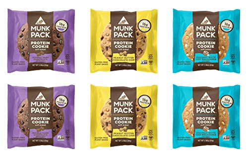 Munk Pack Variety Pack Protein Cookies with 16 Grams of Protein   Soft Baked   3 Flavors - Peanut Butter Chocolate Chip, Double Dark Chocolate, White Chip Macadamia   6 Pack 1