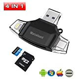 32 gb micro sd card iphone 5s - 4in1 USB Flash Dirver for iPhone, Marceloant Card Reader Micro SD TF Card Readers for iPad Android Apple Mac, Card Reader Memory Card Camera Reader Adapter, Lightning Micro (Black With 32GB TF Card)