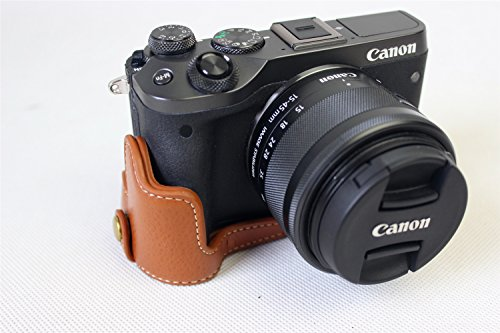 EOS M6 Case, BolinUS Handmade Genuine Real Leather Half Camera Case Bag Cover for Canon EOS M6 Bottom Opening Version + Hand Strap -Brown