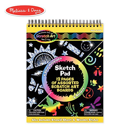 Scratch Art Doodle Pad - Melissa & Doug Scratch Art Sketch Pad With 12 Scratch-Art Boards and Wooden Stylus