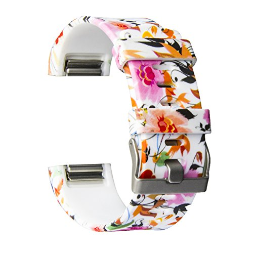 MOACC Fitbit Charge 2 Band,Soft Silicone Adjustable Replacement Sport Strap Floral Design Bands with Classic Buckle Fitness Accessory Wristband for Fitbit Charge2 (Pattern-3, Large (Wrist 6.5-9.0))