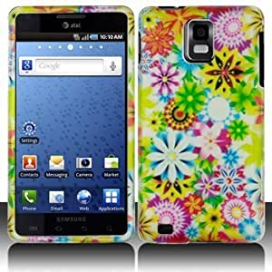 Green Pink Spring Garden Rubberized Snap on Hard Skin Shell Protector Cover Case for Samsung I997 / Infuse 4G