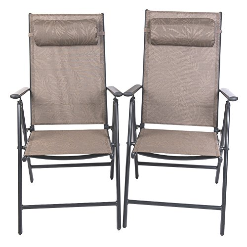 PatioPost Outdoor Adjustable Folding Recliner Aluminum Patio Sling Chairs with 7 Stalls, Set of 2 - Jacquard