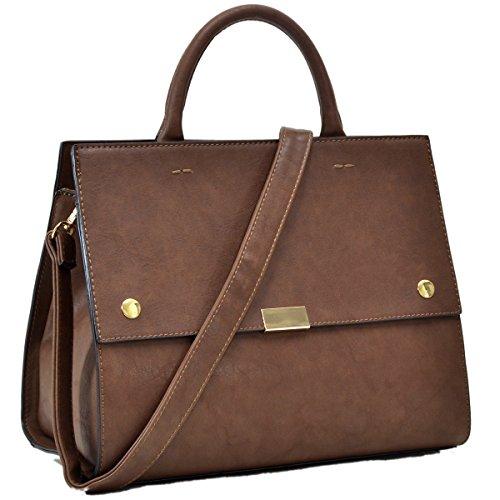 MKY Women Flapover Briefcase Leather Messenger Bag Designer Purse w/ Removable Shoulder Strap Coffee - Executive Briefcase Bag