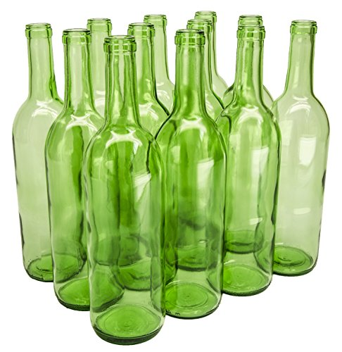 North Mountain Supply 750ml Glass Bordeaux Wine Bottle Flat-Bottomed Cork Finish - Case of 12 - Light Green