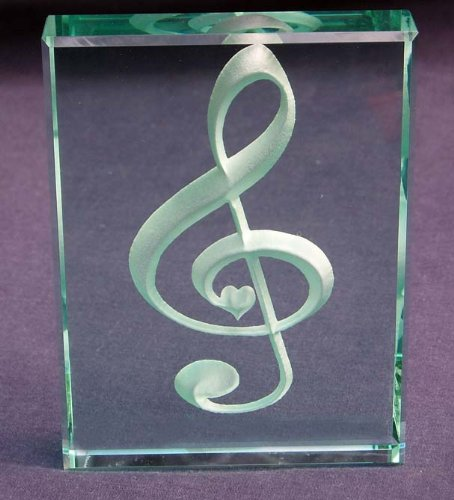 Etched Jade Glass (Treble Clef Hand Carved Etched Glass Paperweight)