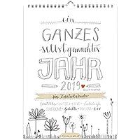 A4 Bastelkalender 2019, Fotokalender, Kreativkalender, Geburtstagskalender im Bleistift DIY Design, Grau Weiß mit Blumenwiese, Recyclingpapier, Kalender selbst gestalten, basteln und verschenken