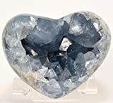 3.3'' Celestite Geode Heart Natural Ice Sky Blue Druzy Crystals Cluster Sparkling Mineral Сelestine Stone - Madagascar + Acrylic Display Stand (#2)
