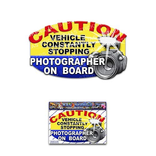 Photographer on Board Funny Joke Tourist Vinyl Car Sticker Decal Pack For Laptop, Caravans, Trucks, Boats ST00026_SML - JAS Stickers