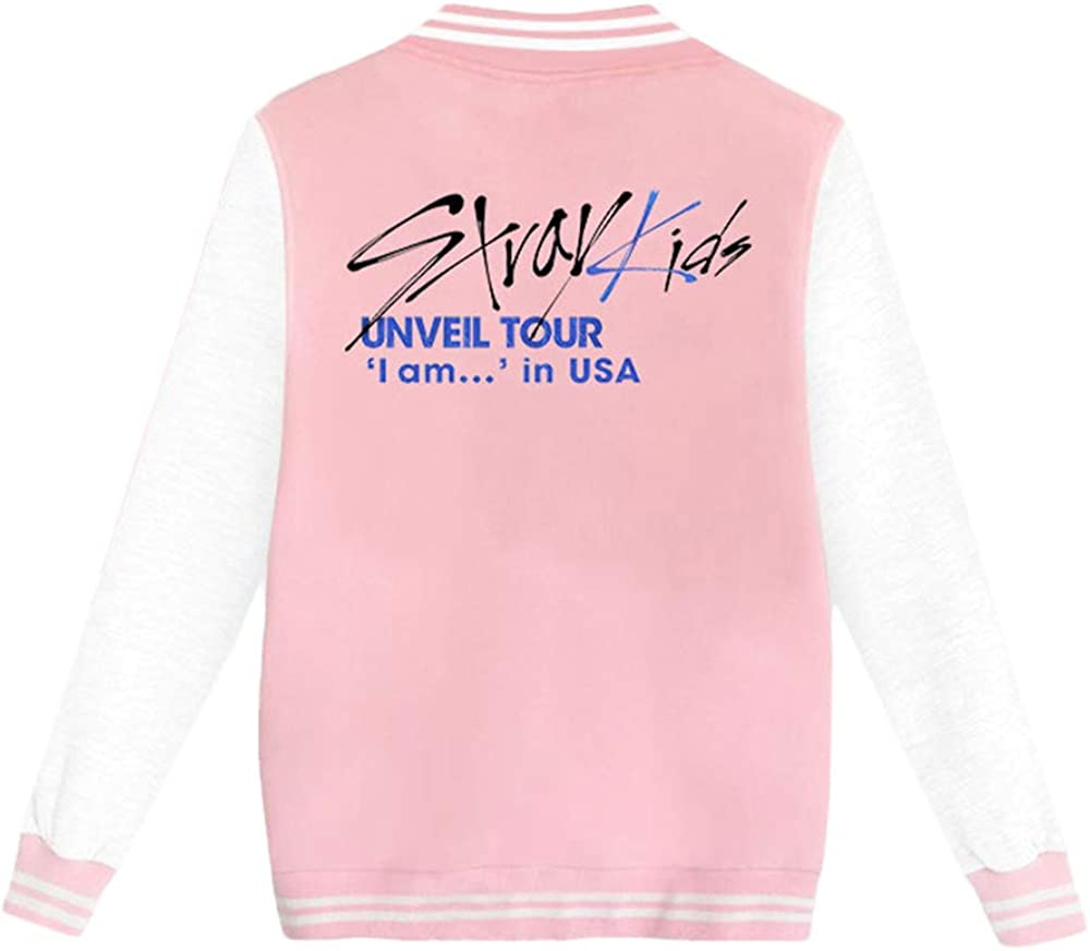 Omnnnelpo Stray Kids Pullover Baseball Uniform Outerwear Printed Patchwork Casual Jacket with Button Coat Unisex
