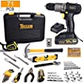 Tool Kit with Drill, 20V Cordless Drill Driver & 71Pcs Home Tool Kit, with 2.0Ah Battery and Fast Charger, Hammer, Socket Screwdriver, Wrench, Storage Toolbox, Best Gift for Christmas