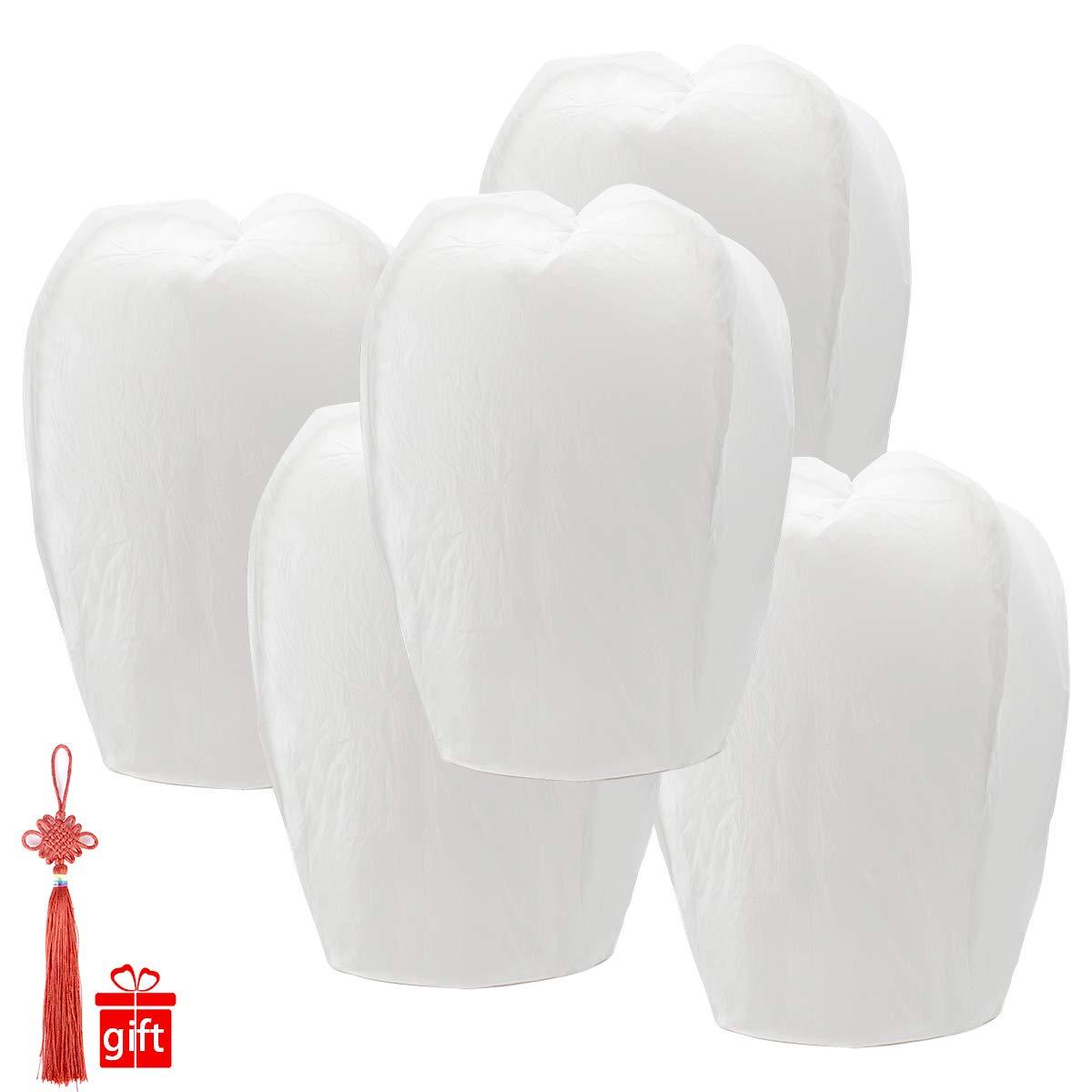 Chinese Lanterns 20-Pack - 100% Biodegradable, Paper Lantern - Japanese Lantern for Weddings, Celebrations, Memorial Ceremonies - White Flying Wish Lanterns