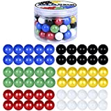ROSYKIDZ Glass Marbles for Chinese Checker, Set of 60 Glass Marbles Only, 10 of Each Color / 16mm, with Potable Container and Carry Bag, for Marble Run, Marbles Game, Chinese Checkers