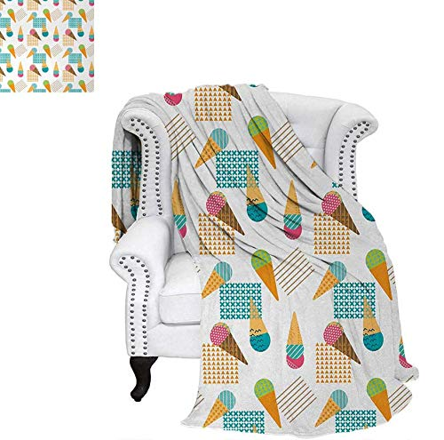 Custom Design Cozy Flannel Blanket Pattern in Scandinavian Style Cones with Colorful Scoops and Geometric Design Lightweight Blanket 70
