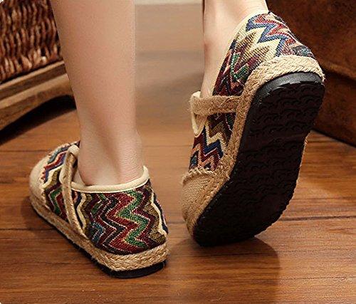 Mujer Boquilla Blanco Cómodo amp;Lino Transpirable de y MISSMAOM Gris Zapatos Rayas Algodón Zapatos Casuales dtzwqS