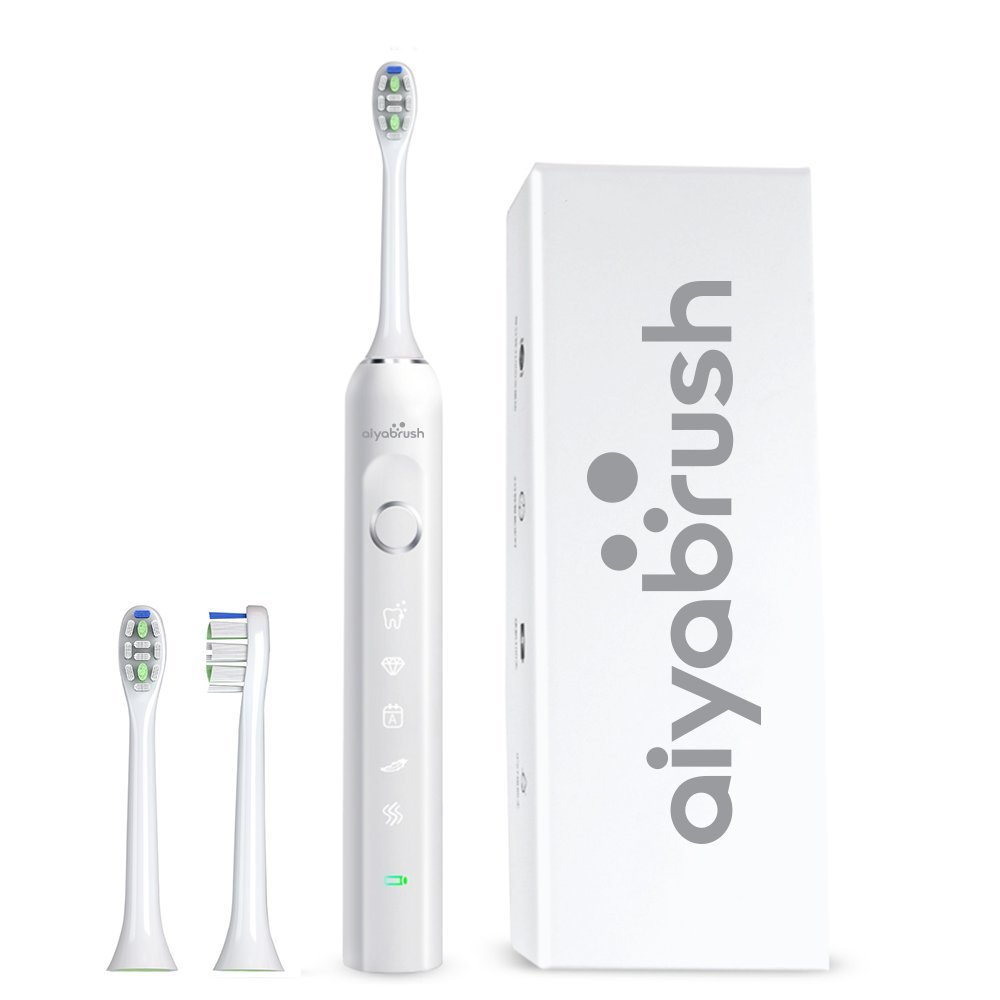 Aiyabrush Ultra Sonic Electric Toothbrush with 5 Brushing Modes ,2 Replacement Heads,100 Days Li-on Battery,Waterproof,White