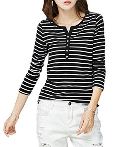 Chemisiers Shirt Longues Femmes Raye Blouses Casual Haut T Fashion Noir Tops Manches JackenLOVE wSIPCYqq