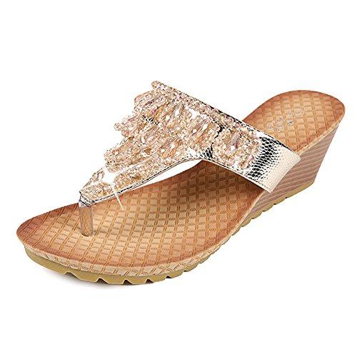 Zicac Women's Rhinestone Thong Sandals Beach Thong Slippers Wedge shoes (8, Gold)