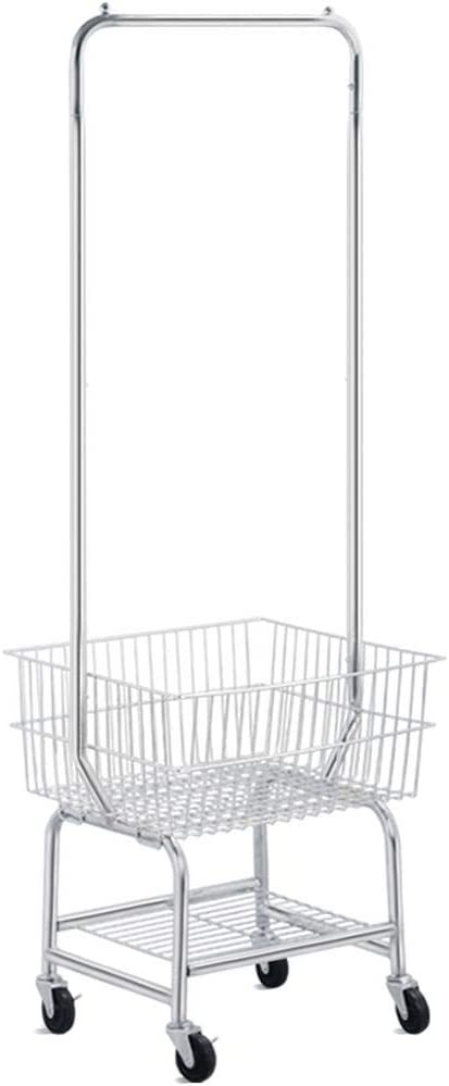 Topeakmart Commerical Rolling Laundry Hamper with Wheels, Heavy Duty Metal Frame Laundry Cart Double Pole Rack, Chrome