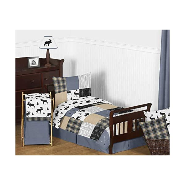 Sweet Jojo Designs Black and White Woodland Moose Accent Floor Rug or Bath Mat for Rustic Patch Collection