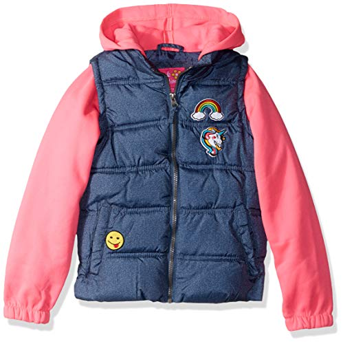 Pink Platinum Girls' Big Patch Vest with Fleece Hood and Sleeves, Pink, 7/8 ()