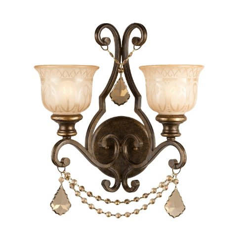 Crystorama 7502-BU-GT-MWP Norwalk - Two Light Wall Sconce, Bronze Umber Finish -