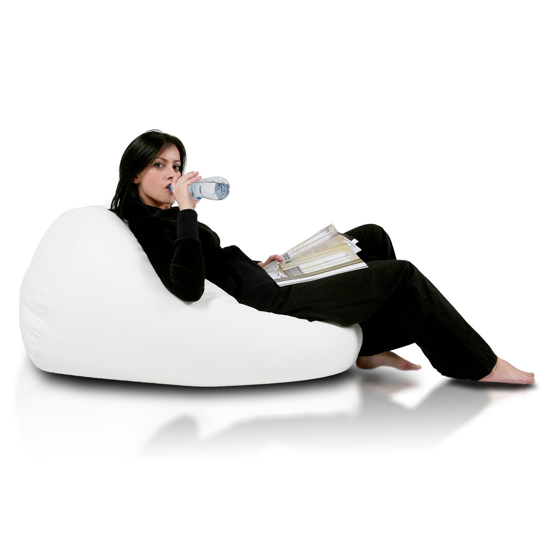 Turbo BeanBags Mega Sack Bean Bag Chair, Large, White