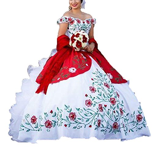 Diandiai Ball Gown Off Shoulder Quinceanera Dresses Embroidery Ruffles Bridal Dresses ()