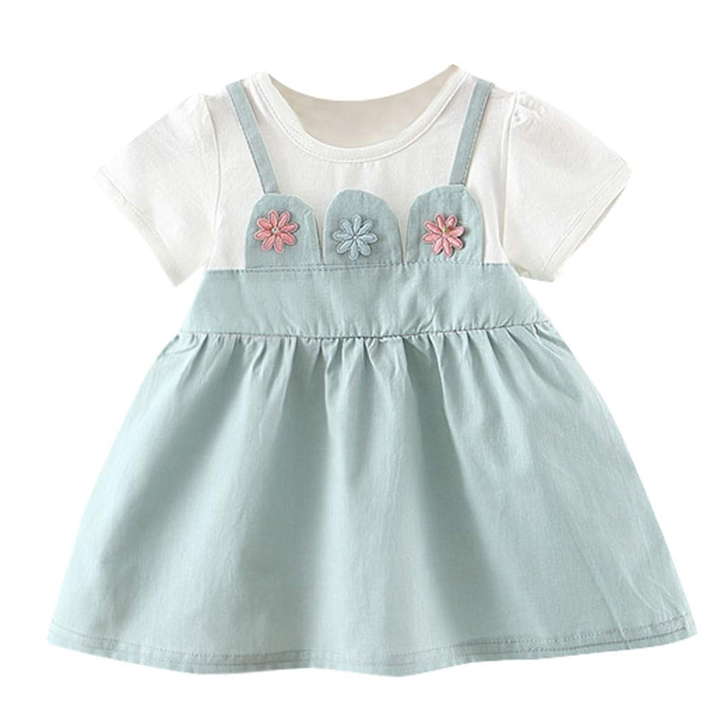 NUWFOR Toddler Baby Kid Girl Floral Flowers Skirt Party Princess Dresses Casual Clothes(Mint Green,3-6Months)