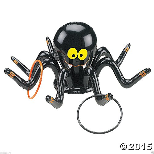 (HALLOWEEN or Everyday Party Game Kids Activity Inflatable Black SPIDER RING TOSS Fun Creepy Spooky)