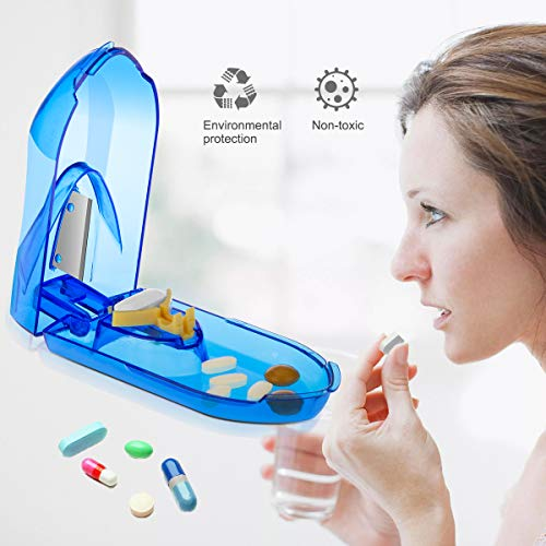 (Pill Cutter, Easily Crush Medicine Tablets and Vitamins, Tablet Cutter with Small Pill Box Container, Pill Splitter Cutter Chopper,Best Pill Cutter Ever, Easy to Carry When Going Out.)