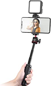 Smartphone Vlogging Kit with Adjustable Handle Grip, Mini Tripod, Dimmable LED Light - YouTube, TIK Tok, Vlogging Equipment for iPhone/Android Smartphone Video Kit